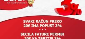 Supermarketi SARS: PËR ÇDO BLERJE MBI 20 EURO 3 PËR QIND ZBRITJE